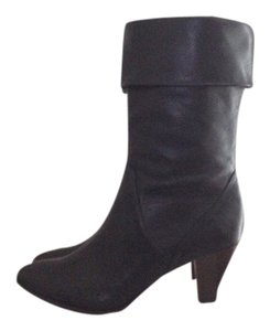 Frye Midcalf Mid Shaft Leather Almond Toe Cuff Black Boots