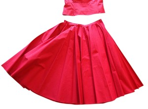 Jil Sander Retro Vintage 1950s Skirt Red