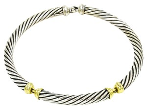 David Yurman 10mm Cable Classics Choker in 14k Yellow Gold and 925 Sterling Silver, Length 15.5