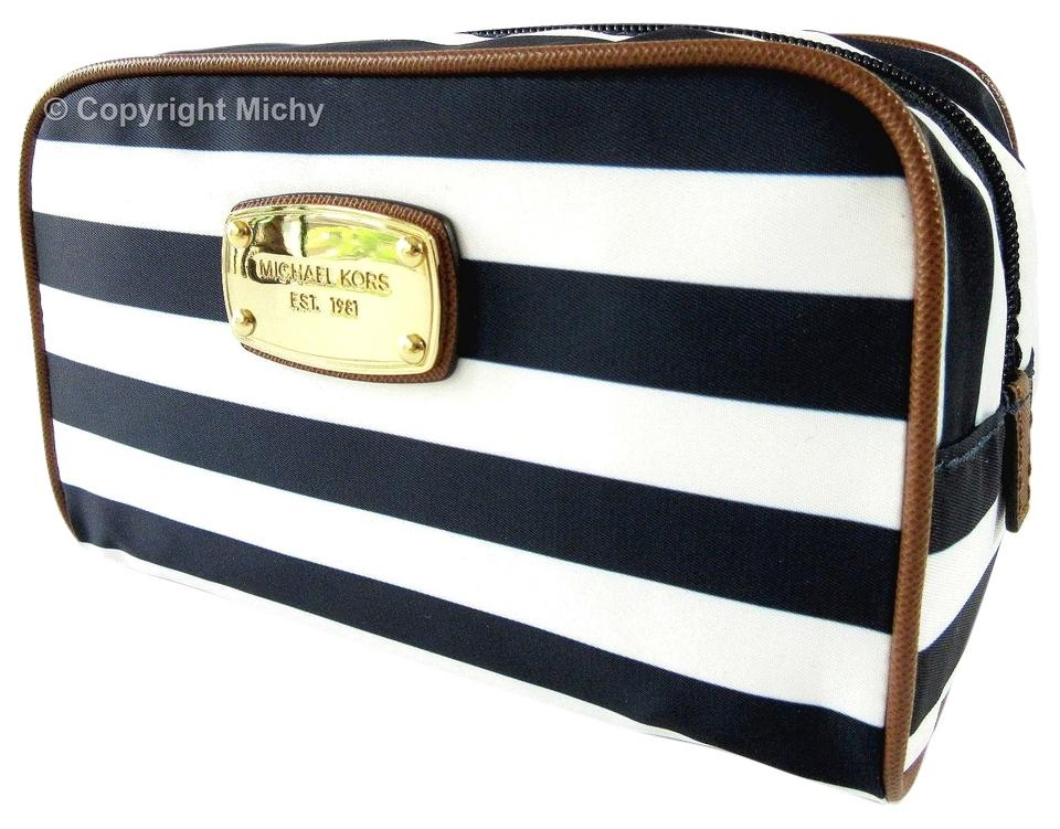 Abbey Lg Bag Travel Pouch Case White Navy Makeup Cosmetic Michael Kors rQdCtsh