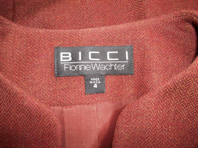 Bicci Florine Wachter Fitted peplum Jacket Self covered buttons Faux Fur cuffs Knee length skirt