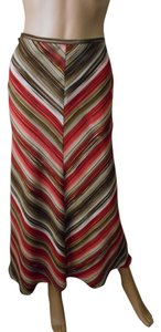 Villager Color Polyester Red A-line Flared Maxi Skirt Brick Multi