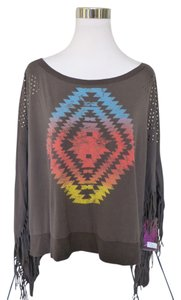 Rock and Roll Cowgirl Aztec Bohemian Stud Fringe Top Gray