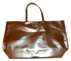 Clinique Faux Leather Tote in Silver Metallic