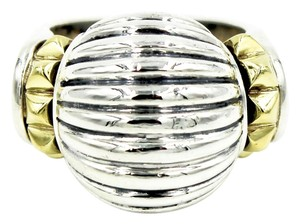 Lagos Vintage Lagos Caviar Fluted Dome Ring in 18k Yellow Gold and 925 Sterling Silver, Size 6.5