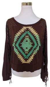 Rock and Roll Cowgirl Aztec Bohemian Stud Fringe Top Brown