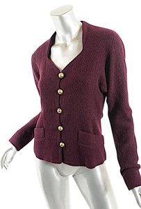 Donna Karan Boiled Wool Sweetheart Neckline Plum Burgundy Jacket