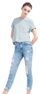 Zara Cropped Distressed Relaxed Fit Jeans-Distressed