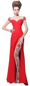 Tarik Ediz Front Slit Beaded Dress