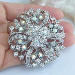 Cz Flower Wedding Brooch