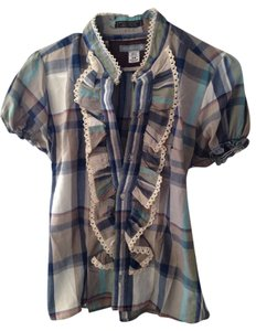 Urban Renewal Button Down Shirt Blue Plaid