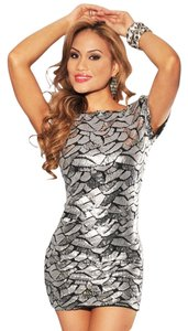 Hot Miami Styles short dress Silver New Shimmery on Tradesy