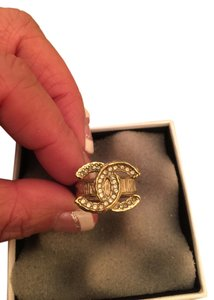 Chanel Chanel CC Gold Tone Ring with Crystals