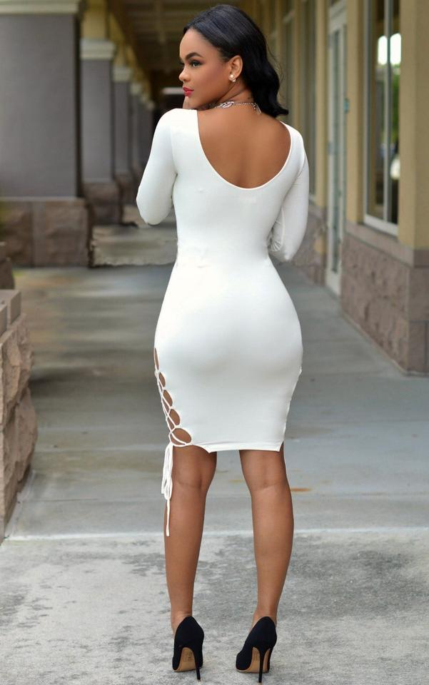 733c546a2a07 Hot Miami Styles White Purple Green Club Sexy Slit Summer Midi Knee Length  Night Out Dress Size 4 (S) - Tradesy