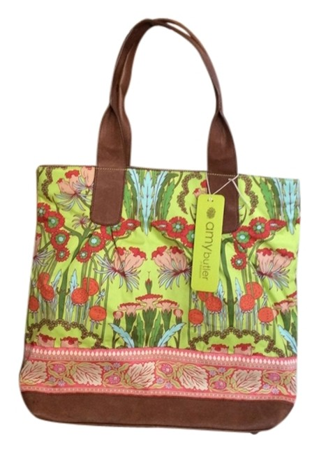 Item - In Floral Pattern Peach Leather Green Brown Pink Yellow Organic Cotton Tote