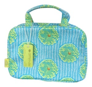 Amy Butler Clutch Pale Embroidered Logo Zippered Pocket Addtional Pockets Satchel in Turquoise, yellow, green