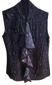 Elie Tahari Silk Sleeveless Top purple, black - snake skin pattern
