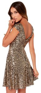 New Gold Sequin Sum Club Dress