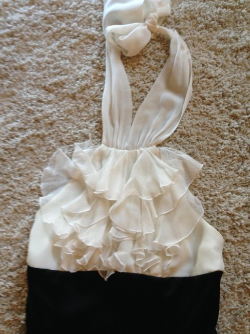 BCBGMAXAZRIA Halter Gown Ball Gown Tuxedo Crepe Creme Ruffles Dress