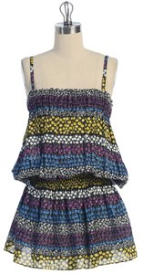 Anthropologie short dress MULTI COLOR Layered Floral Cotton Summer on Tradesy