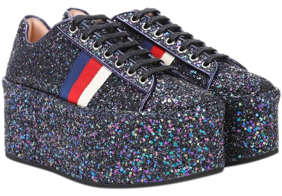 Gucci Blue Classic Glitter Sparkle Platform Strip Leather Lace-up Flat  Sneakers 5c4820c8c