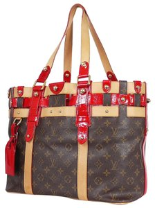 Louis Vuitton Red Alligator Tote in Red, Brown