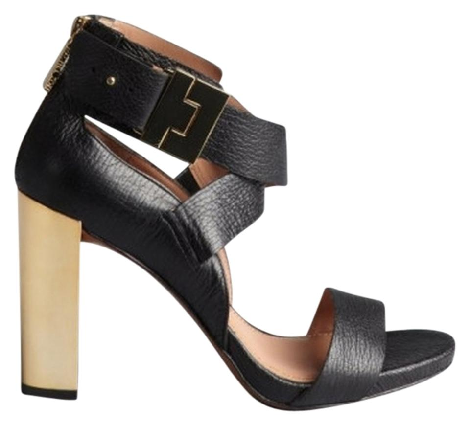 Rachel Zoe Black 'brooklyn' Leather and Gold Metal 'brooklyn' Black Stacked Sandals a04d6d
