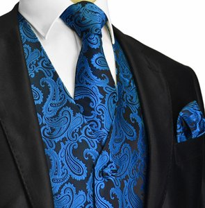 Brand Q Royal Blue / Black Men's Paisley Pattern Design Tuxedo Waistcoast + Necktie + Handkerchief Set 4xl 56 Inches Vest