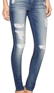 7 For All Mankind Distressed Spring Chic Straight Leg Jeans-Distressed