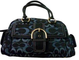Coach Leather Navy Satchel in Navy Blue