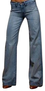 J Brand Cotton Spring Summer Trouser/Wide Leg Jeans-Medium Wash