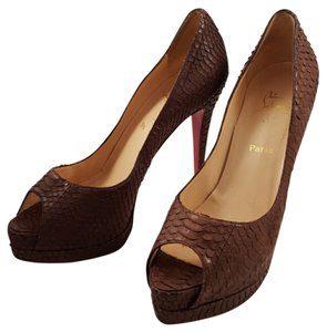 Christian Louboutin Python Lady Peep Banane Water Snake Rare Brown Pumps