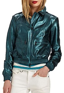 Burberry Biker Metallic Leather Moto Motorcycle Jacket