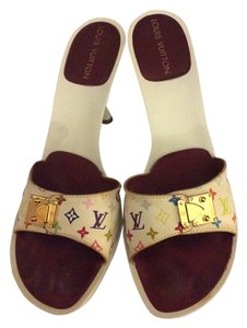 Louis Vuitton Kitten Heel Slip Spring White multicolor Mules