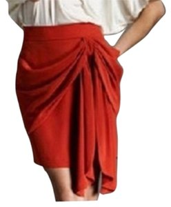 Juicy Couture Draped Drape Silk Casual Night Out Mini Formal Mini Skirt Orange