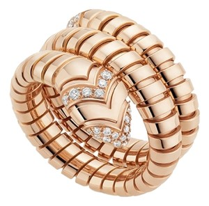 BVLGARI BVLGARI 18K ROSE GOLD DIAMOND SERPENTI TUBOGAS RING AN856571 SMALL