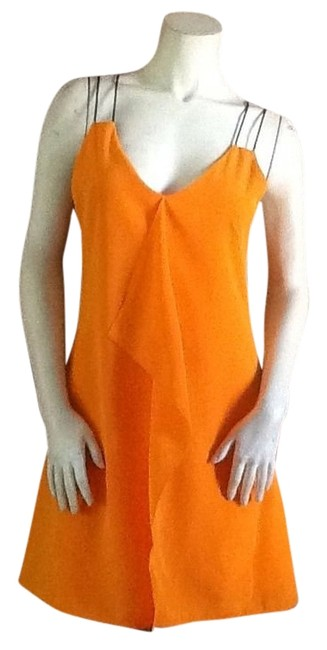 Preload https://img-static.tradesy.com/item/12716725/sachin-babi-orange-with-ruffle-front-and-navy-blue-straps-short-casual-dress-size-4-s-0-2-650-650.jpg