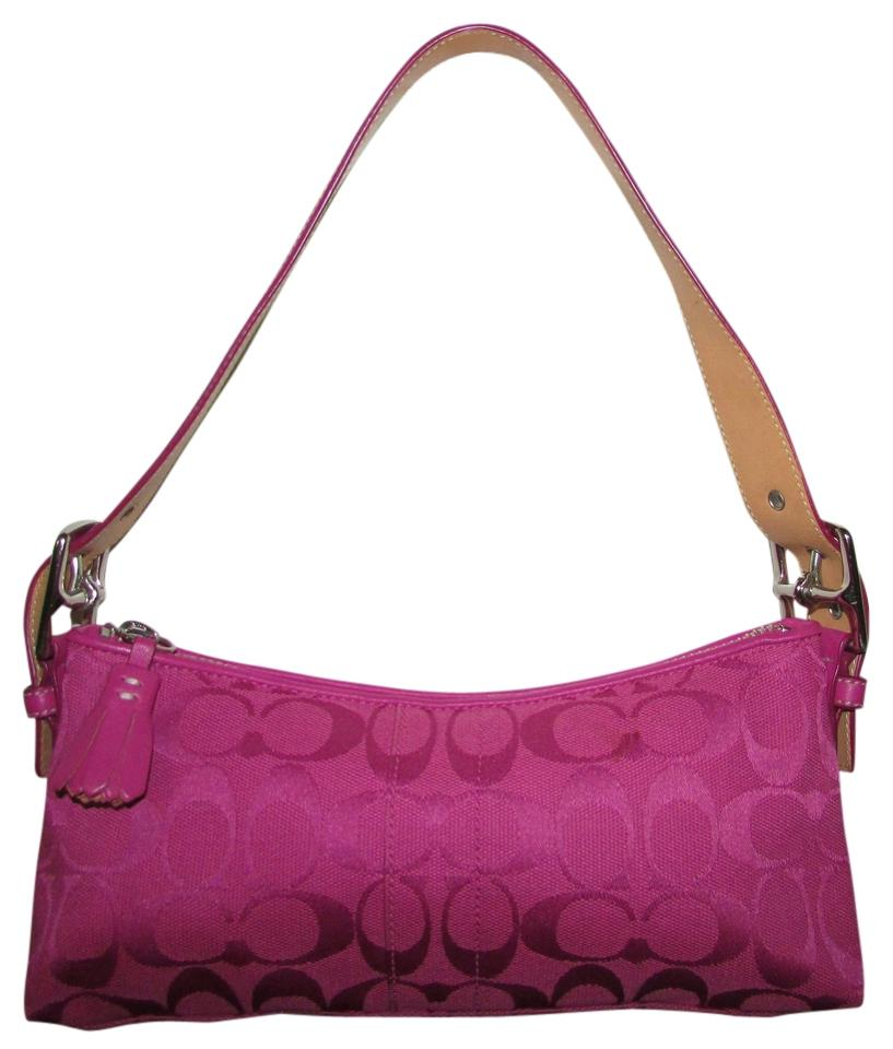abe1db5714c29 Coach Small Monogrammed Purse Pink Canvas Fabric / Leather Trim ...