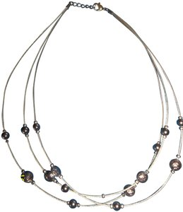 Three Strand Silver Necklace w/ Silver Beads