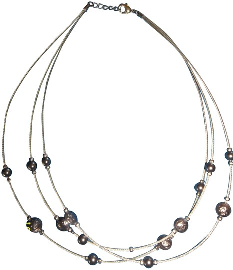 Other Three Strand Silver Necklace w/ Silver Beads