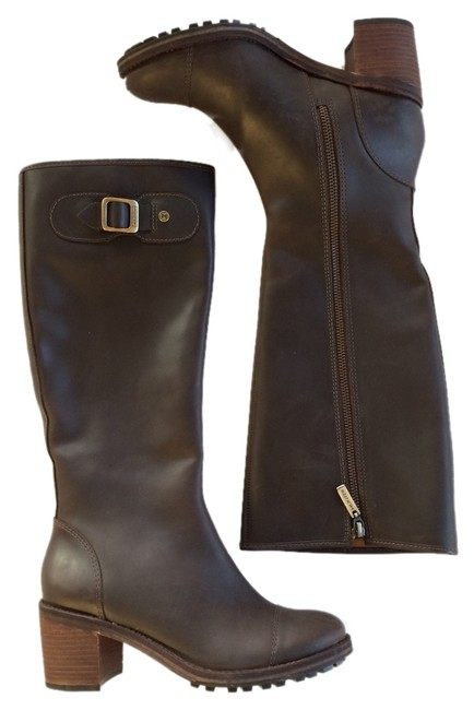 """Item - Brown """"May"""" Leather Knee High Riding Boots/Booties Size US 7 Regular (M, B)"""