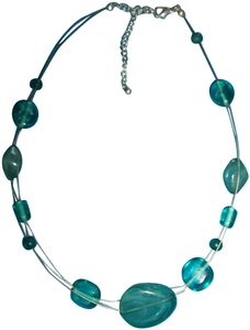 Jade Colored Necklace on Silver Strands