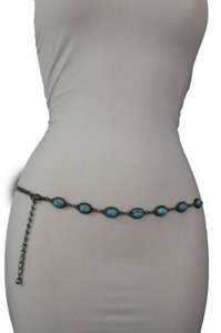 Women Fashion Belt Hip High Waist Antique Silver Metal Chains Turquoise Blue