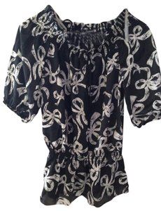 Forever 21 Top Black Ribbon Print