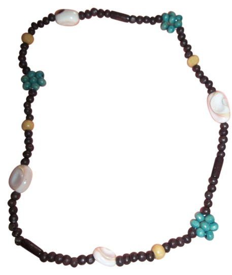 Other Brown Beads w/ Turquoise, Tan, Shell Necklace