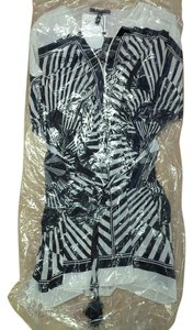 BCBGMAXAZRIA Asian Print Kimono Tasseled Silk Dress