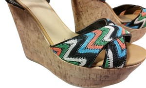 Sandals Tribal Print Woven Multi: Turqoise, coral, black, white, kelly green Wedges
