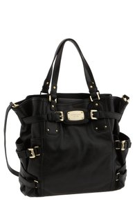 Michael Kors Large Pebbled Leather Leather Mk Tote in Black/Gold Hardware