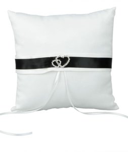 New White Satin Ring Bearer Pillow With Black Ribbon Detail