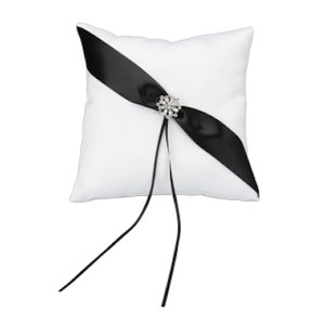 White Ring Bearer Pillow With Black Ribbon & Rhinestone Brooch Motif